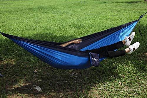 YSCYLY Hamaca de Camping,Hamaca de Nylon Simple/Doble,para Terraza, Balcón, Jardín, Exterior, Camping, con Bolsa de Transporte, Correas de Fijación y Mosquetones