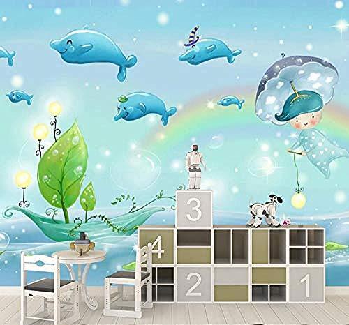 Kinderzimmer Marine Fish 3D Großformat Wandbild Baby Swimming Pool Wallpaper Wallpaper Unterwasserwelt Cartoon Wass Wanddekoration fototapete 3d Tapete effekt Vlies wandbild Schlafzimmer-430cm×300cm