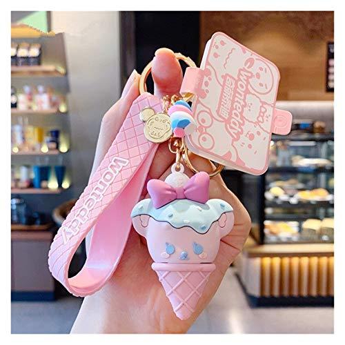 Djujiabh Keychain Ice Cream Teddy Bear Doll Keychain for Women Bag Charms Pendant Lovers Jewelry Keyrings Car Key Holder Keyrings (Color : ZZ 03)