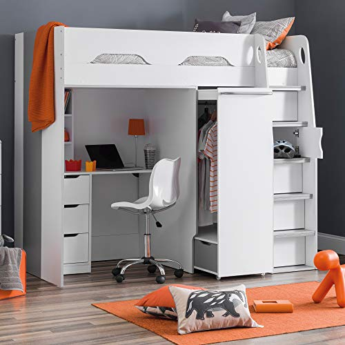 High Sleeper Storage Bed, Happy Beds Pegasus Wood Modern Desk Wardrobe Drawers Cupboards Loft Bunk - 3ft Single (90 x 190 cm) Frame Only