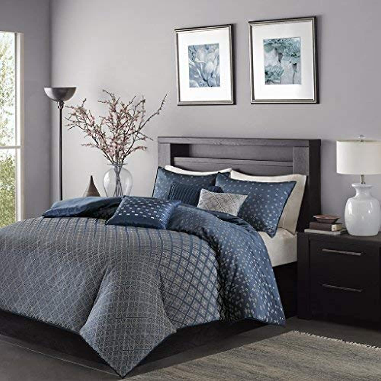 Madison Park Biloxi Duvet Cover Full Queen Size - Navy, Geometric Duvet Cover Set – 6 Piece – Ultra Soft Microfiber Light Weight Bed Comforter Covers