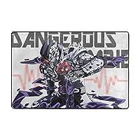 洗えるラグ 仮面ライダーエグゼイド、Kamen Rider Ex-Aid ラグマット 滑り止め付 カーペット フロアマット 91x61cm