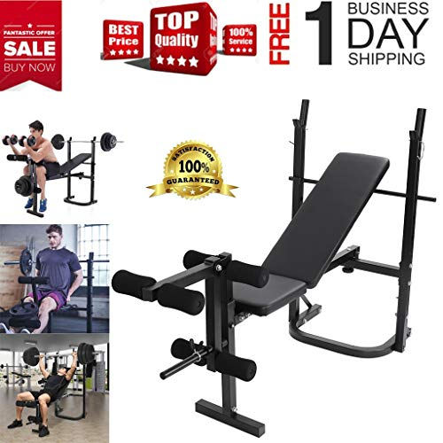 Weight Bench Barbell Lift Flat Press Exercise Roman Chair Adjustable Incline Decline Ab Foldable Bench Full Body Workout Utility Strength Training for Home Gym Fitness Equipment