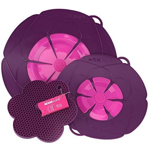 Kochblume Profi-Set für Töpfe von 14 bis 28 cm mit Bionic Multipad als Set in der pinken Box | Silikon Überkochschutz und Untersetzer/Topflappen (lila)