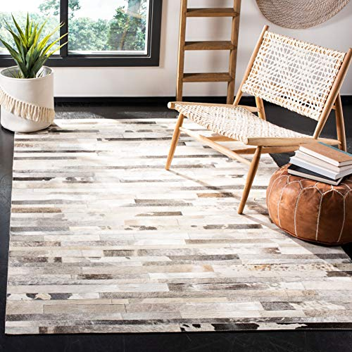 Safavieh Studio Leather Collection STL218A Handmade Grey and Ivory Leather Area Rug (8' x 10')
