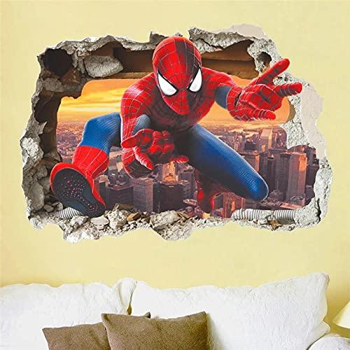 YGYT 50X70Cm Efecto 3D héroe Spiderman a través de la Pared para habitación de niños decoración de Arte de Pared Dibujos Animados PVC calcomanías de Pared rotas Carteles de Bricolaje Regalos