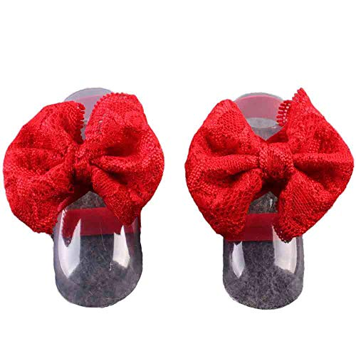 ClodeEU Fashion 1Pair Fashion Beautiful Lace Barefoot Toddler Baby Foot Flower Anklet Red