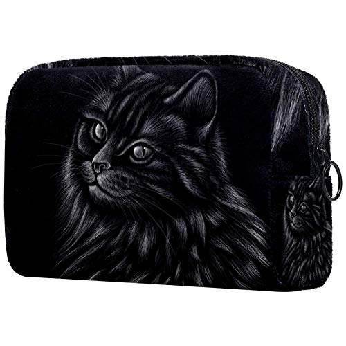 Bolsa de maquillaje portátil con diseño de gato de caza, bolsa de cosméticos impresa, bolsa de cosméticos para mujeres de viaje