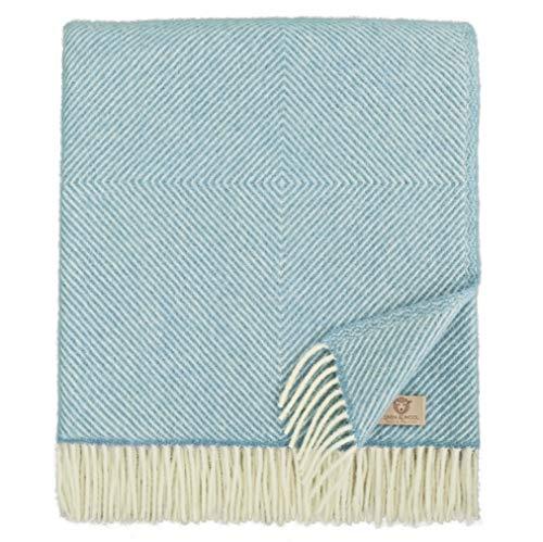 Linen & Cotton Lujo Manta Plaid de Sofá/Cama Alaska, 100% Lana Nueva Zelanda - 140 x 220cm (Azul Turquesa)