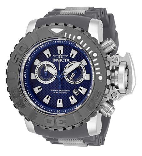 Invicta Sea Hunter 32654 - Reloj de cuarzo suizo de acero inoxidable con correa de silicona, color carbón 30 (modelo: 32654)