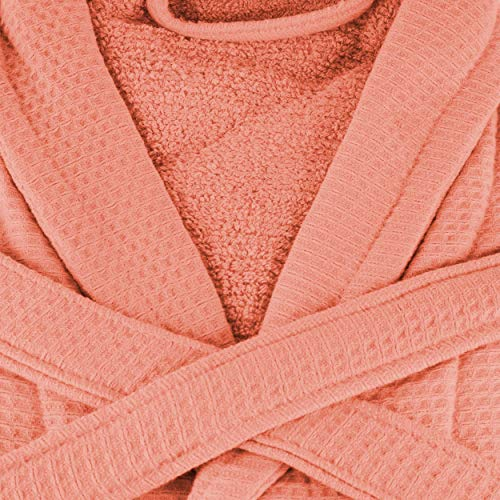 SUPERIOR Long-Staple Cotton Unisex Waffle Weave Bath Robe, Small,Coral