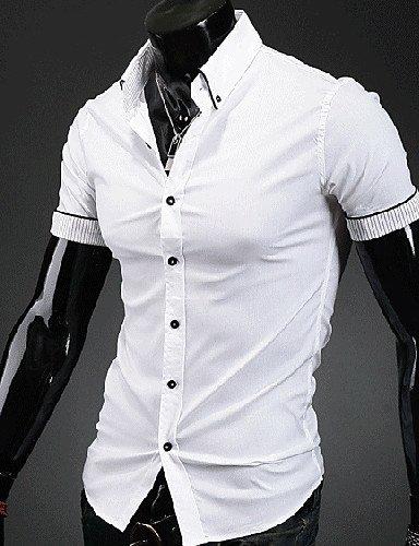 HAN-NMC Men's/Tous Les Jours D'éTã©,Simple Chemise col Boutonnã© Manches Courtes Polyester,L,White