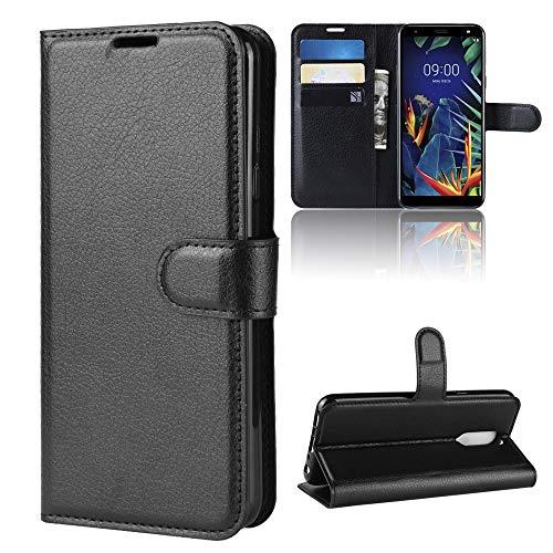 Funda para LG K40 Case Flip Cover Cartera con Ranura para Tarjetas Estuche de Cuero PU + Interior de Silicona TPU Case con Soporte Carassa para LG K40 Smartphone, Negro