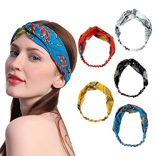 Sethain Vintage Fascia per capelli Yoga a fascia Elastico bianca Criss Cross Cerchietto per capelli Elastico Bandana Copricapo Per donne e ragazze (5 pacco)