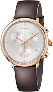 Calvin Klein High Noon Swiss Made Chronograph 43MM Rose Gold Case Brown Leather Strap Watch For Men K8M276G6