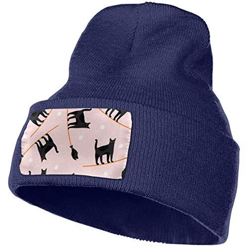 xinfub Mit Symbolen der niedlichen Katze auf Besen Charaktere auf Hintergrund für Männer/Frauen alle Jahreszeiten dünne Schädelkappe Baggy Oversize Strickmütze
