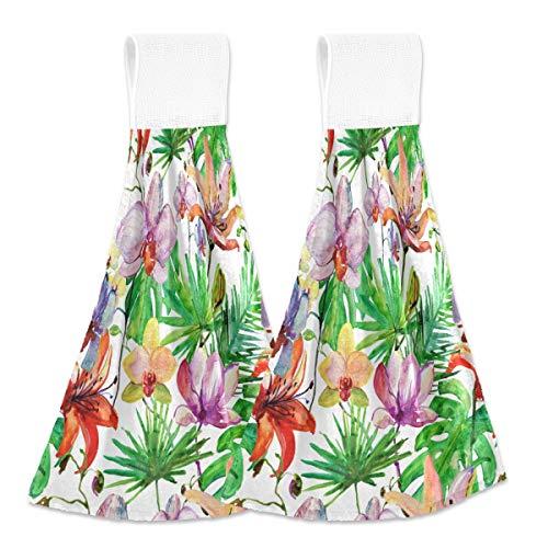 Toallas de cocina para colgar 2 piezas, diseño de flores de mariposa para colgar bucles suaves de terciopelo coral súper absorbentes para cocina