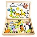Giocattolo multifunzionale: I bambini possono giocare i puzzle dei cartoni animati con pezzi di carte e disegnare con la penna sul lato magnetico bianca; Sulla lavagna nera, può essere utilizzato per disegnare e scrivere con i gessetti colorati. Port...