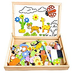 Cooljoy CL-8850 Magnetisches Holzpuzzles Puzzle-Spiele, Doppelseitiges Puzzle- und Zeichen-Staffelei, Kreidetafel, Lernspielzeug für Kinder (Tiermuster)