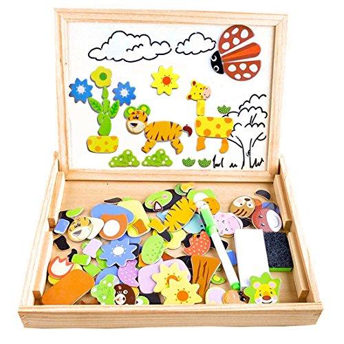 COOLJOY Puzzle Magnetico Legno, Giocattolo di Legno Bambini con Double Face Disegno cavalletto Lavagna, apprendimento educativo per Bambini (Nmodello Animale)