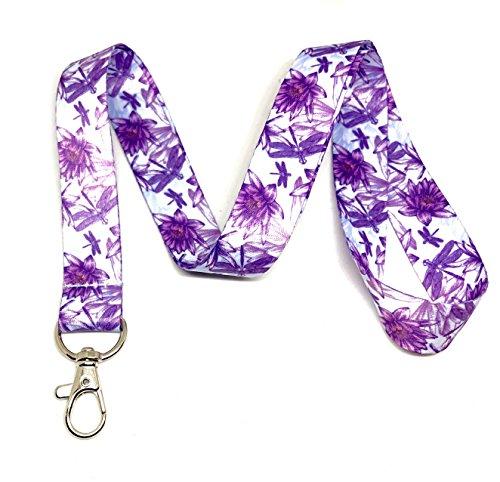 Dragonflies & Lotus Flowers Print Lanyard Key Chain Id Badge Holder