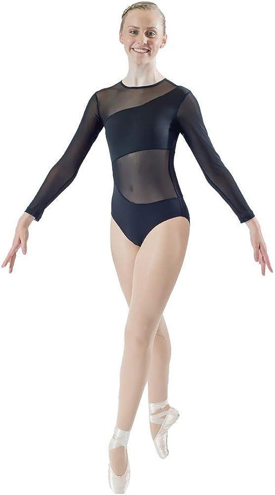 Spasm price HDW DANCE Japan's largest assortment Women's Ballet Dance Leotard Mesh Long F Split Sleeves