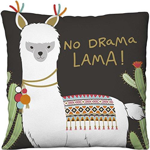 Die Geschenkewelt 45570 kleines Happy Life Plüsch-Kissen mit Lama-Motiv, mit Kaktus und Spruch No Drama Lama, 25 cm x 25 cm, Zier-Kissen