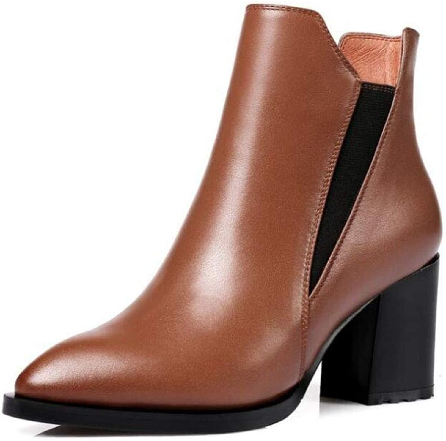Women's Booties, Fall Winter Leather Boots, Woman Zipper Martin Boots Short Ankle Booties Pointed Toe Simple High Heels shoes (color   Brown, Size   39)