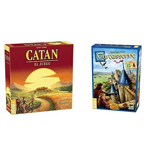 Devir Catan, Juego de Mesa Idioma Castellano (BGCATAN) + 222593 Carcassonne, Juego de Mesa (Versión En Castellano)