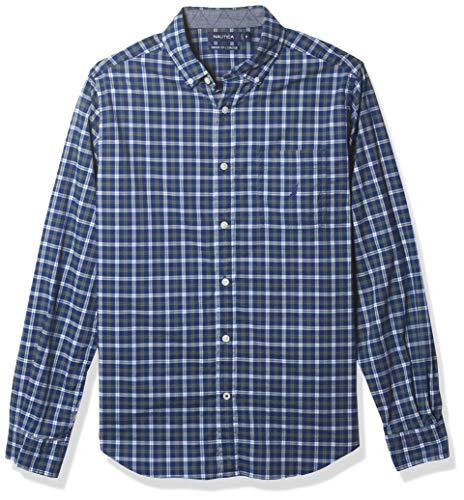 Nautica Men's Long Sleeve Classic Fit Plaid Button-Up Shirt, Limoges, Large