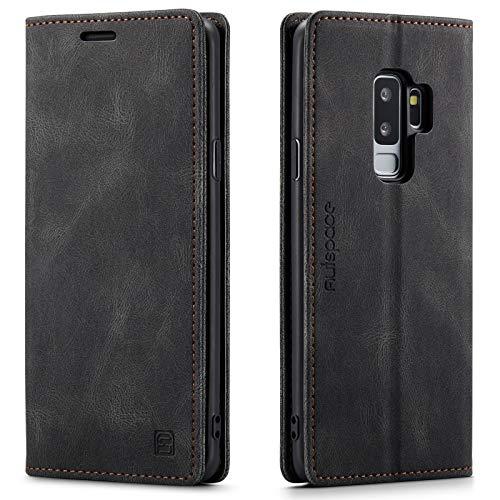 LOLFZ Hülle für Samsung Galaxy S9, Vintage Dünne Leder Handyhülle mit RFID Schutz Kartenfach Ständer Magnetische Flip Schutzhülle Kompatibel mit Galaxy S9 - Schwarz