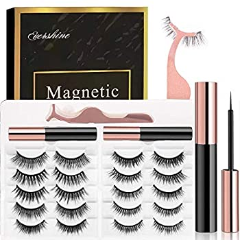 Magnetic Eyelashes Kit Magnetic Eyeliner 3D and 5D different Lengths&Densities Magnetic Eyelashes Magnetic Lashliner For Use with Magnetic False Lashes Natural Look-No Glue Needed  10-Pairs