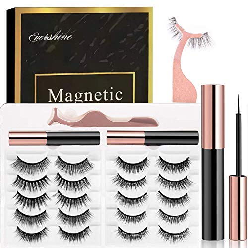 Magnetic Eyelashes Kit Magnetic Eyeliner 3D and 5D different Lengths&Densities Magnetic Eyelashes Magnetic Lashliner For Use with Magnetic False Lashes Natural Look-No Glue Needed (10-Pairs)