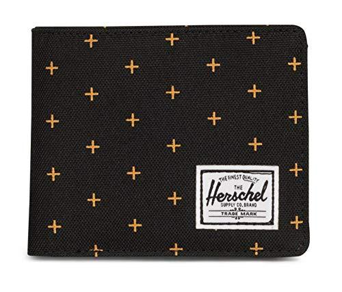 Herschel Roy Plus Coin RFID Wallet Black Gridlock Gold
