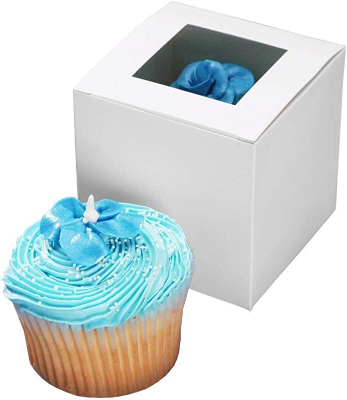 Darice 1404 281 Cupcake Box With Window 24 Pieces Per Package 3 1 2 Inch By 3 1 2 Inch By 3 1 2 Inch