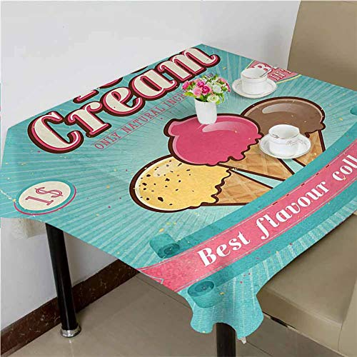 DRAGON VINES Kitchen Tablecloth,Floral Tablecloth,Best Flavor Collection Quote with Free Topping Children Design,Outdoor Picnic Table,52 x 70 inch