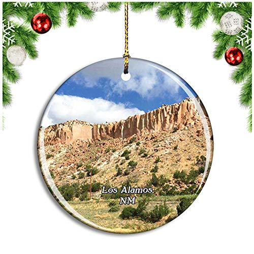 Los Alamos Bandelier National Monument New Mexico USA Christmas Ornament Xmas Tree Decoration Hanging Pendant Travel Souvenir Collection Double Sided Porcelain 2.85 Inch