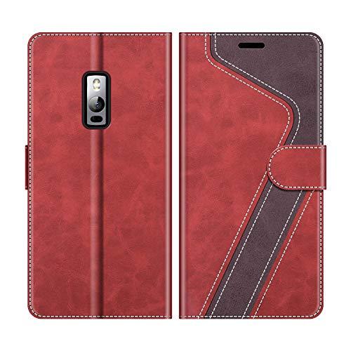 MOBESV Handyhülle für Oneplus 2 Hülle Leder, Oneplus 2 Klapphülle Handytasche Hülle für Oneplus 2 Handy Hüllen, Modisch Rot
