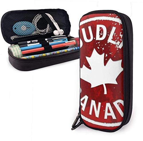 Canada, Maple Leaf Leather Pencil Case Pouch Zippered Pen Box School Supply for Students,Big Capacity Stationery 3D Nanotechnology Printed Box for Girls Boys and Adults