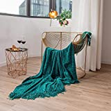 Cazimo Soft Chenille Throw for Sofa - 50*60 Inches, Teal Green