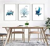 Leinwanddrucke,3 Panel Silhouette Elch Bär Adler Bäume