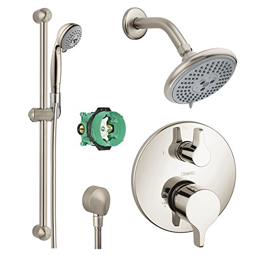 Read About Hansgrohe KSH04353-27447-94BN-2 Raindance E 120 Air 3-Jet Showerhead Kit with Handshower,...