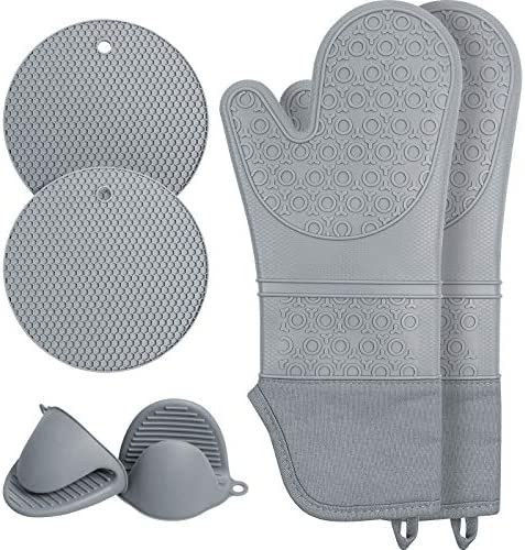 Extra Long Silicone Oven Mitts and Pot Holders Sets Waterproof Non Slip Heat Resistant Oven product image