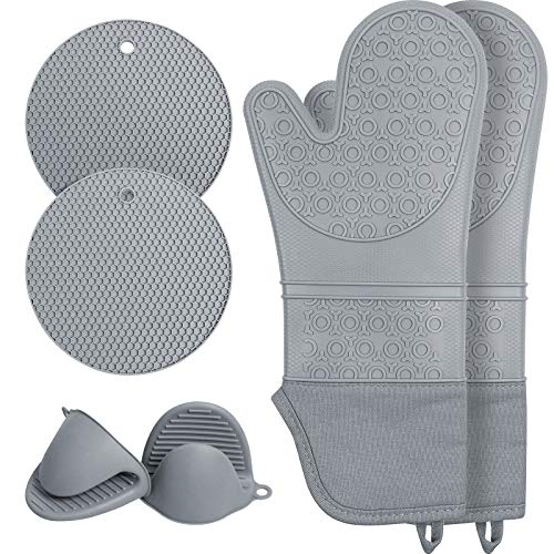 Extra Long Silicone Oven Mitts and Pot Holders Sets, Waterproof Non Slip Heat Resistant Oven Mittens with Mini Oven Gloves and Hot Pads Potholders for Kitchen Baking Cooking, Quilted Liner, 6 Pcs Grey