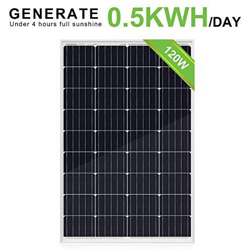 ECO-WORTHY 12V-Solarpanel, 120 W ohne Kabelbinder-Solarpanel, hocheffizientes monokristallines Modul für die Batterieladung eines Wohnmobil-Anhängers