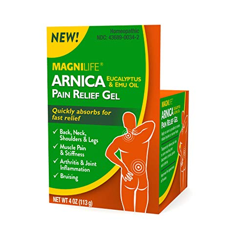 MagniLife Arnica Pain Relief Gel, Fast Acting Neck and Back Pain Relief, with Eucalyptus and Emu Oil to Soothe Soreness, Inflammation and Discomfort - 4oz