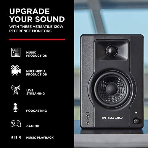 M-Audio BX4 Pair - Par de Monitores de estudio / Altavoces para PC de sobremesa de 120 W para videojuegos, producción musical, transmisiones en directo y pódcasts
