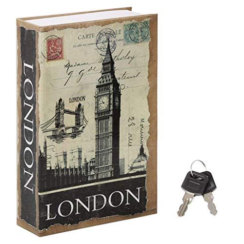 Jssmst Diversion Book Safe with Key Lock, Secrect Hidden Safe Lock Box Large Money Box High Capacity, 9.5 x 6.2 x 2.2 inches, SM-BS021LN