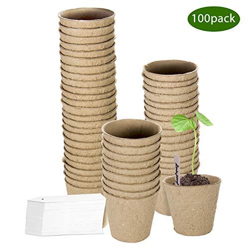 ZOUTOG 3'' Peat Pots, 100 Pack Round Biodegradable Plant Starter Pots Seedling Trays, Bonus 100 Plant Labels