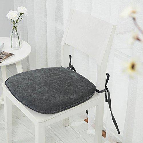 GWW Espuma de la memoria, amortiguador de la silla de comedor,Amortiguador de asiento de color sólido Cojines de asiento grueso nórdico Cojines de silla antideslizante con tirantes de lazo para el hogar-Gris 45x43cm(18x17inch)